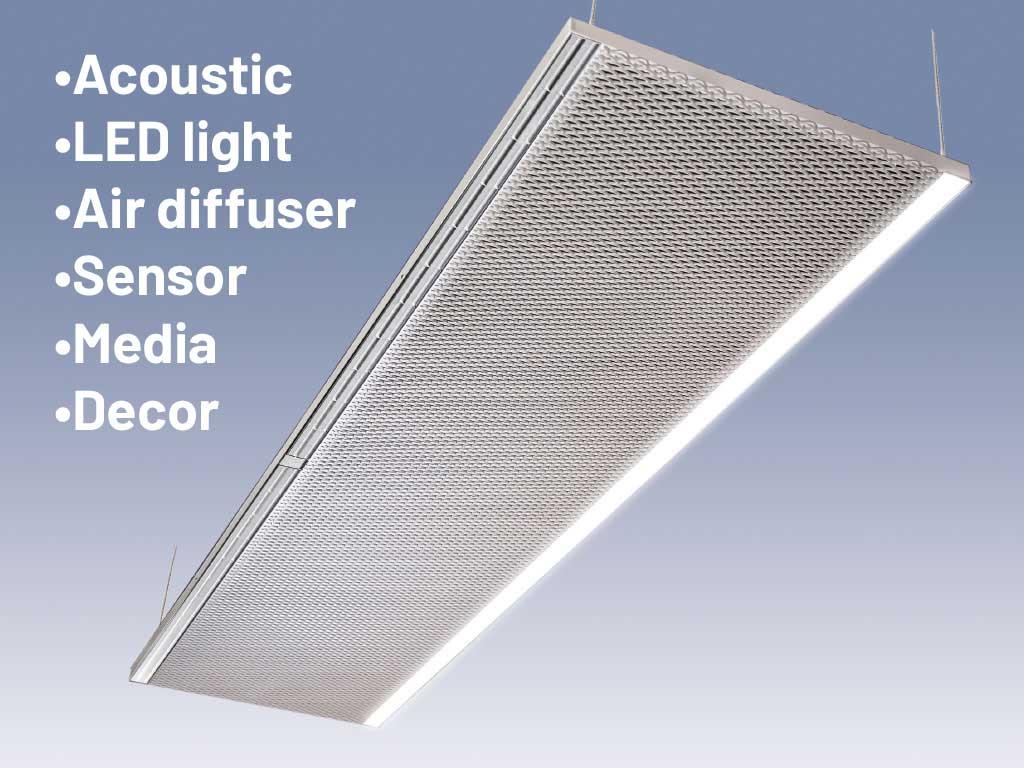 Pannello acustico, illuminazione integrata, pannello in alluminio, pannello in lamiera stirata, illuminazione Led, canopi metallo stirato